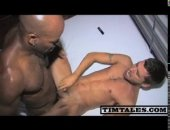black hunk fucks a skinny white stud so hard he almost cries