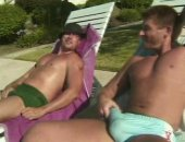 hunks tanning and stroking