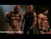 2 muscle hunks tied up and abused by their masters