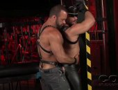 hard leather daddies eat ass and suck cock