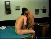 hot sex with two guys on a pool table