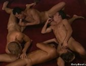 Horny Guys Having a nice Group Blowjob.