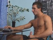 Horny Guy Jerking Off His Cock in Front of Laptop.