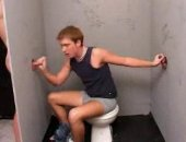 Blowing sitting on the toilet
