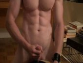 Wanking his cock on his webcam, love those abs.