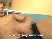A sexy amateur latin muscle stud. He pulls his meat out of his thong and gentle starts to caress his large, pulsing member