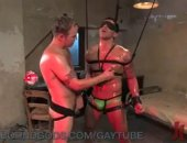 Hot stud gets suspended in metal bondage and a brutal fuck by Spencer Reed.