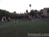 The Fratmen play in a 3 vs 3 football game.