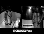 The chain cage proves uncomfortable, but that doesnt mean we took it off.  Instead the prisoner finds himself in total darkness only to be released after deep throating Sirs baton