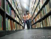 Horny dudes sucking their cock in the university library
