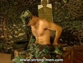 A horny military hunk jerking off.