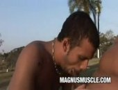 Beefy asian Matheus Axell fucks his twink friend Erick Leony in the sunny outdoors.