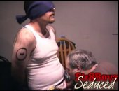 Seth enjoyed the first session so much he returns for a replay. After I let him watch the porno a while I blindfold and bind him to the chair. I...