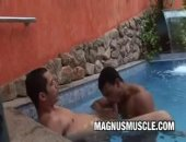 Latin muscle dudes Poax Hoffin and Andre Dumont tease each others bodies in the pool before getting out for some hot sex.