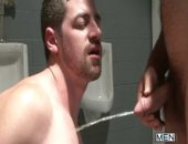 hounds fucking in a john and soaking each other in hot piss