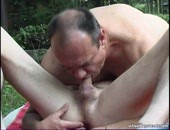 Horny older amateur bear sucking twinkie cock in the back yard