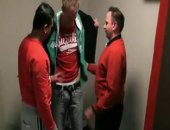 this tall and lean soldier gets stripped and stroked by 2 older guys