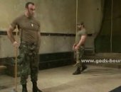 huge army hunks tied up and hurt real good