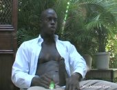gorgeous black hunk spunks all over himself