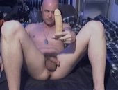 hunky army dude using a dildo