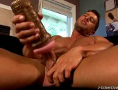 Horny Cody Jerking Off His COck using His Fleshlight.