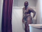 Amateur Black Guy Jerking Off His Cock on the Shower.