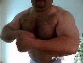 Amateur Muscle Bear Posing on Cam.