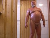 Mature Guy Jerking And Pissing in the Sauna.