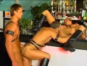 Threesome Leather Guys Fucking in the Slot Machine.