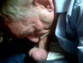 Mature Olf Man Sucking his Own Cock.
