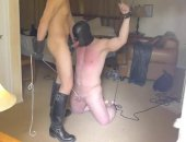 Mask Man Sucks cock while his tied up.