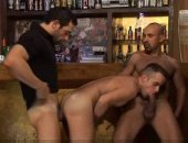 Sucking ass and blowing dick on a bar stool
