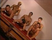 Muscle men screw on pool table