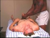 Sucking him after he fondles his white balls