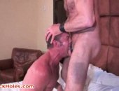 Old hunk licks a nice asshole before deep throating cock.