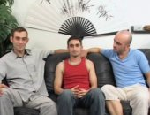 Three friends gay orgy at home on the leather couch