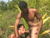 Perfect threesome in the fields fucking together really hard