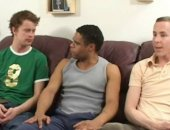 Three guys in interracial threesome sucking and fucking ahrd