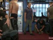 Shoe shopping turns into gay bondage gangbang fuck