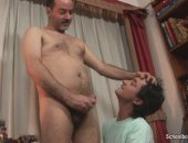 The older lover whipped out his thick throbbing shaft and slammed it all the way into his twink lovers pooper
