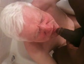 Old siver haired spanish man drinking piss from black cock.