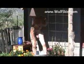 Taking a bath - heres an older weird dude taking a nude bath outdoors