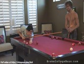 During play pool college guys decide to get naked for more enjoyment