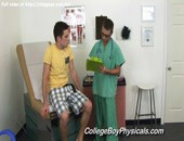 Sweet sexy doctor gay examines lovely body at medical cabinet.