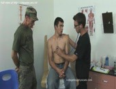 Fresh army boy relaxs and demonstrates his hot sweet body to his doctor on his couch.