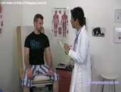 Sweet skilled doctor examines and jerk off big dick to patient on couch.