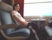 An Arab cutie masturbate and cum in train.