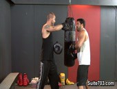 Vince Ferelli is a mans man who has been wanting to learn how to box for some time. His good friend Brenn Wyson happens to be a boxing instructor, but ends up pushing Vince too hard and he winds up throwing his shoulder out. Brenn quickly comes to his rescue to massage his wounds, along with his cock.