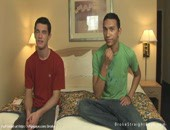 Sweet hottie gays relaxs and talk about hard sex each other on bed.
