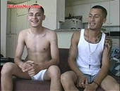 Check this two hot Latinos as they kiss and then suck a big verga, then sticks it in in a tight culo and cums on his tanned skin.